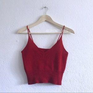 Brandy Melville Luna Red Knit tank top